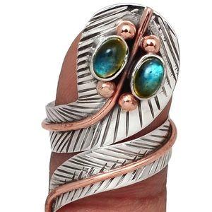 Two-Tone - Labradorite - Madagascar 925 Ring